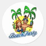 Fiesta de la playa etiquetas redondas