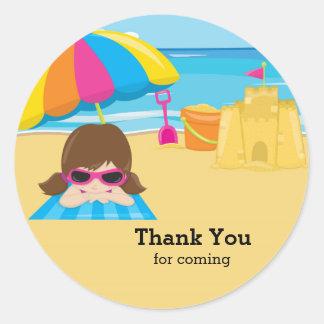 Fiesta de la playa pegatina redonda