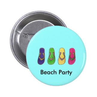 Fiesta de la playa pin redondo de 2 pulgadas