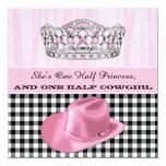 Fiesta de la princesa cumpleaños de la vaquera invitaciones personales