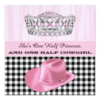 """Fiesta de la princesa cumpleaños de la vaquera invitación 5.25"""" x 5.25"""""""