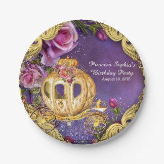 Fiesta de la princesa cumpleaños del cuento de plato de papel de 7 pulgadas