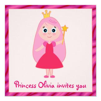 """Fiesta de la princesa cumpleaños del dibujo invitación 5.25"""" x 5.25"""""""