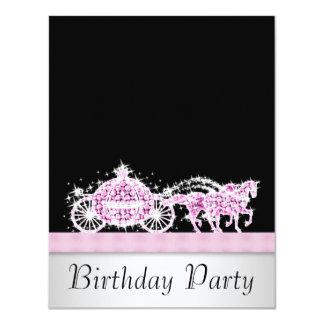 Fiesta de la princesa cumpleaños del negro del comunicados personalizados