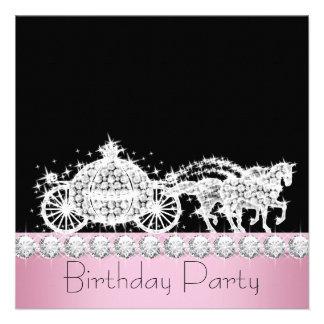 Fiesta de la princesa cumpleaños del rosa del carr comunicado