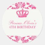 Fiesta de la princesa cumpleaños etiquetas redondas