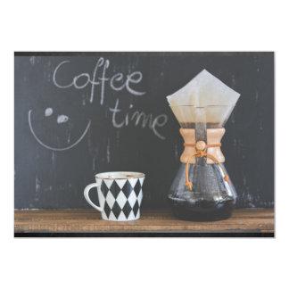 """Fiesta de la reunión del tiempo del café invitación 5"""" x 7"""""""