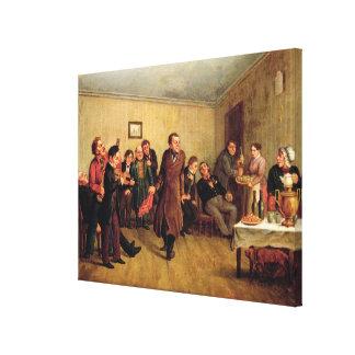 Fiesta de la tarde de un comerciante lona estirada galerias