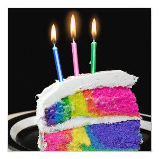 """Fiesta de la torta de cumpleaños del arco iris invitación 5.25"""" x 5.25"""""""