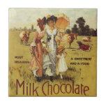 Fiesta de la vaca del chocolate con leche del vint teja cerámica