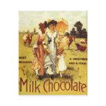 Fiesta de la vaca del chocolate con leche del vint lona envuelta para galerías