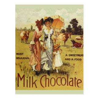 Fiesta de la vaca del chocolate con leche del vint tarjeta postal