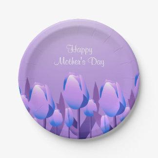 Fiesta de la violeta los 7in de los tulipanes de platos de papel