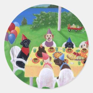Fiesta de Labrador Pegatina Redonda