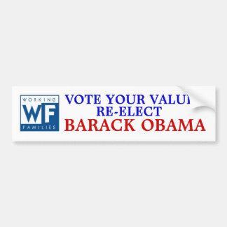 Fiesta de las familias trabajadoras para Barack Ob Pegatina Para Auto