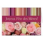 Fiesta de las Madres french Rosado y de stripes Mo Tarjeta