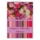 Fiesta de las Madres french Rosado y de stripes Mo Tarjetas