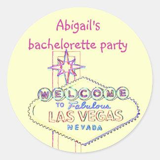 Fiesta de Las Vegas Bachelorette Pegatina Redonda