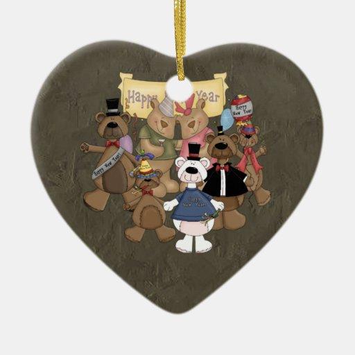 Fiesta de los Años Nuevos de los osos Adorno Navideño De Cerámica En Forma De Corazón