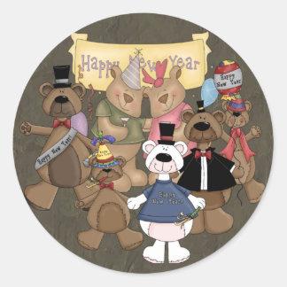 Fiesta de los Años Nuevos de los osos Pegatina Redonda