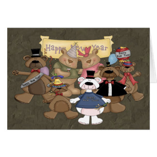 Fiesta de los Años Nuevos de los osos Tarjeta De Felicitación