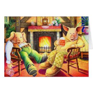 Fiesta de los cerdos tarjeta de felicitación
