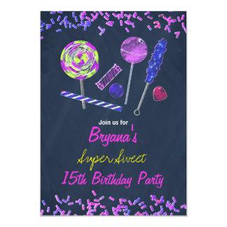 """Fiesta de los Doodles de la tiza de los dulces de Invitación 5"""" X 7"""""""