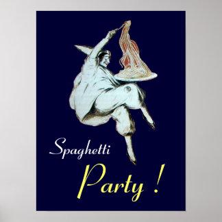 FIESTA de los ESPAGUETIS COCINA ITALIANA púrpura Poster