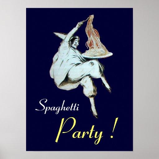 FIESTA de los ESPAGUETIS, COCINA ITALIANA, púrpura Poster