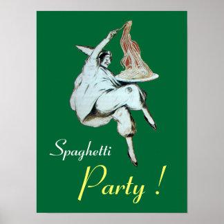 FIESTA de los ESPAGUETIS COCINA ITALIANA verde Posters