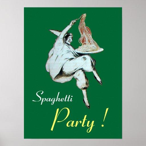 FIESTA de los ESPAGUETIS, COCINA ITALIANA, verde Posters