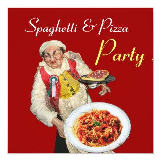 """FIESTA de los ESPAGUETIS y de la PIZZA, negro rojo Invitación 5.25"""" X 5.25"""""""