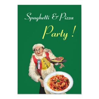 FIESTA de los ESPAGUETIS y de la PIZZA, verde Invitación 12,7 X 17,8 Cm