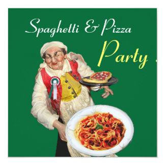 """FIESTA de los ESPAGUETIS y de la PIZZA, verde rojo Invitación 5.25"""" X 5.25"""""""