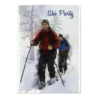 """Fiesta de los esquiadores del campo a través invitación 5"""" x 7"""""""