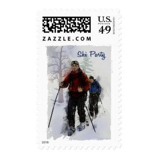 Fiesta de los esquiadores del campo a través timbre postal