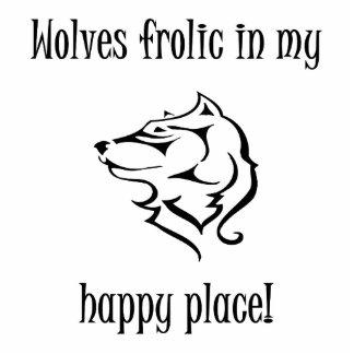 Fiesta de los lobos en mi lugar feliz fotoescultura vertical