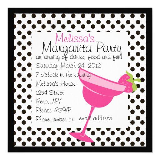 Fiesta de Margarita de la fresa Invitacion Personalizada
