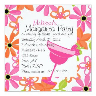 """Fiesta de Margarita de la fresa Invitación 5.25"""" X 5.25"""""""