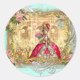 Fiesta de Marie Antonieta en el estilo del francés Pegatina Redonda