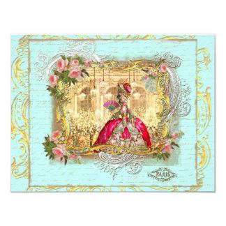 """Fiesta de Marie Antonieta en la tarjeta de la Invitación 4.25"""" X 5.5"""""""