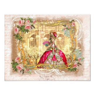 """Fiesta de Marie Antonieta en rosa en Versalles Invitación 4.25"""" X 5.5"""""""