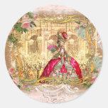Fiesta de Marie Antonieta en rosa en Versalles Etiquetas Redondas