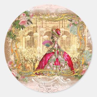 Fiesta de Marie Antonieta en rosa en Versalles Pegatina Redonda