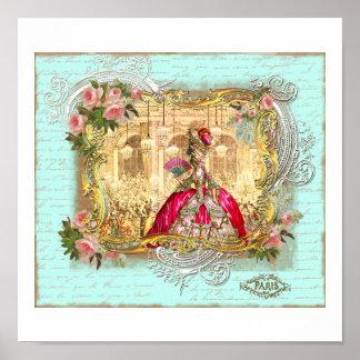Fiesta de Marie Antonieta en Versalles en aguamari Posters