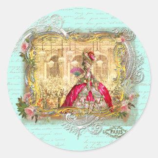 Fiesta de Marie Antonieta en Versalles en Pegatina Redonda