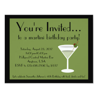 """Fiesta de Martini Invitación 4.25"""" X 5.5"""""""