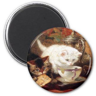 Fiesta de merienda-cena de los gatitos imán redondo 5 cm