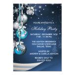 Fiesta de Navidad azul de los ornamentos de los Anuncios Personalizados