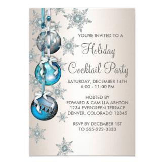 """Fiesta de Navidad azul de los ornamentos de los Invitación 5"""" X 7"""""""